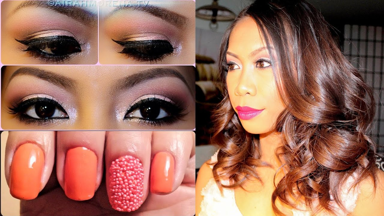 3 in 1 Nail, Hair and Makeup Tutorial - YouTube