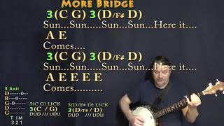 Here Comes the Sun (The Beatles) Banjo Cover Lesson in A with Chords/Lyrics