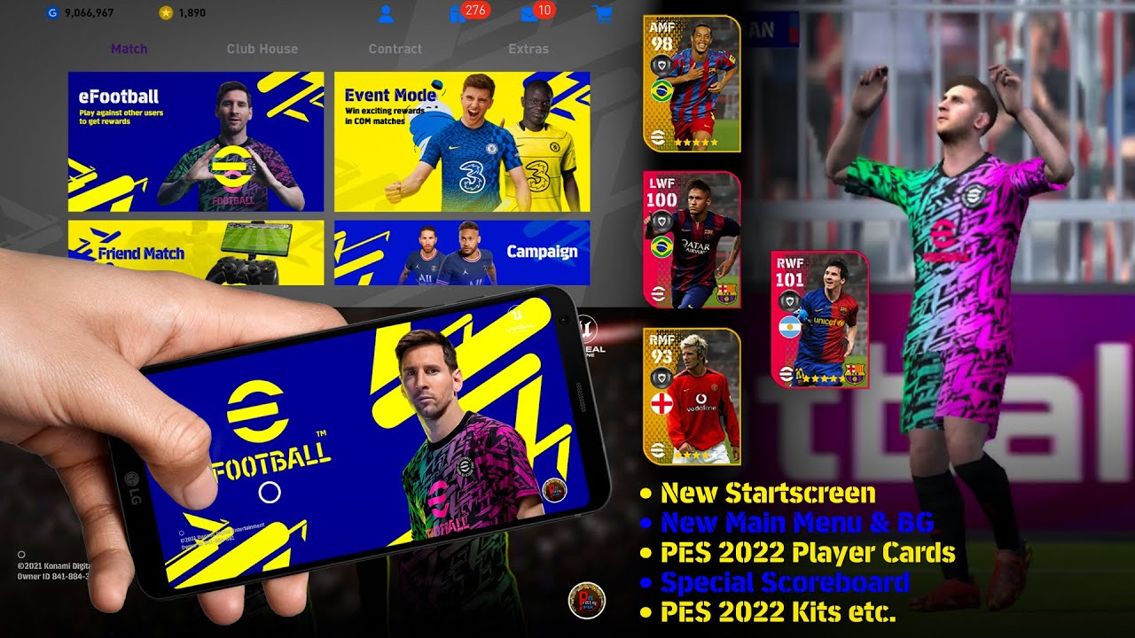 Download PES 2022 Theme Exclusive Patch for PES 2021 Mobile V5.5.0 | Prottoy Patch (Obb)