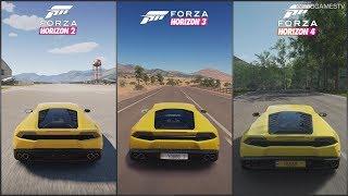 Forza Horizon 2 vs Forza Horizon 3 vs Forza Horizon 4 - Lamborghini Huracan Sound Comparison