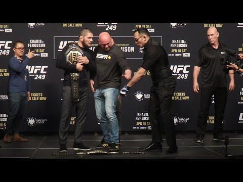 Khabib Nurmagomedov Kicks Tony Ferguson's UFC Belt During Face Off   UFC 249 Presser