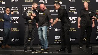 Khabib Nurmagomedov kicks Tony Ferguson's UFC belt during face off | UFC 249 presser