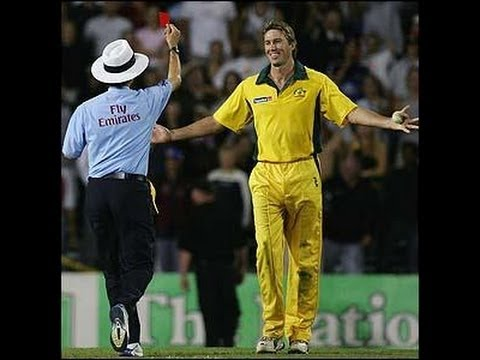 Billy Bowden shows the red card to Glenn McGrath