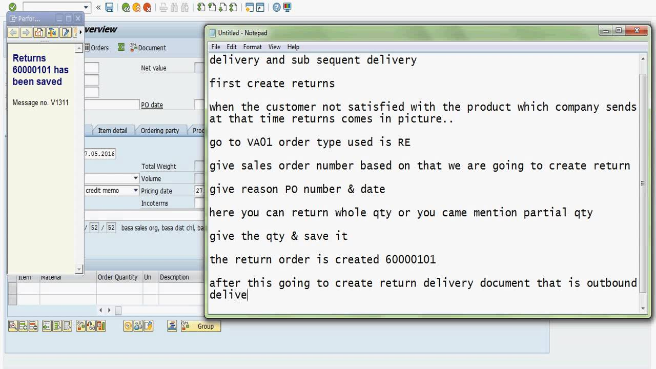 sap sd return free of charge delivery subsequent delivery [ 1280 x 720 Pixel ]