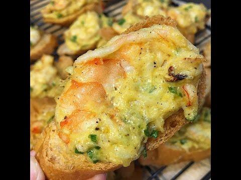 Vietnamese Baked Shrimp And Crab Toasts - Banh Mi Nuong Tom Cua