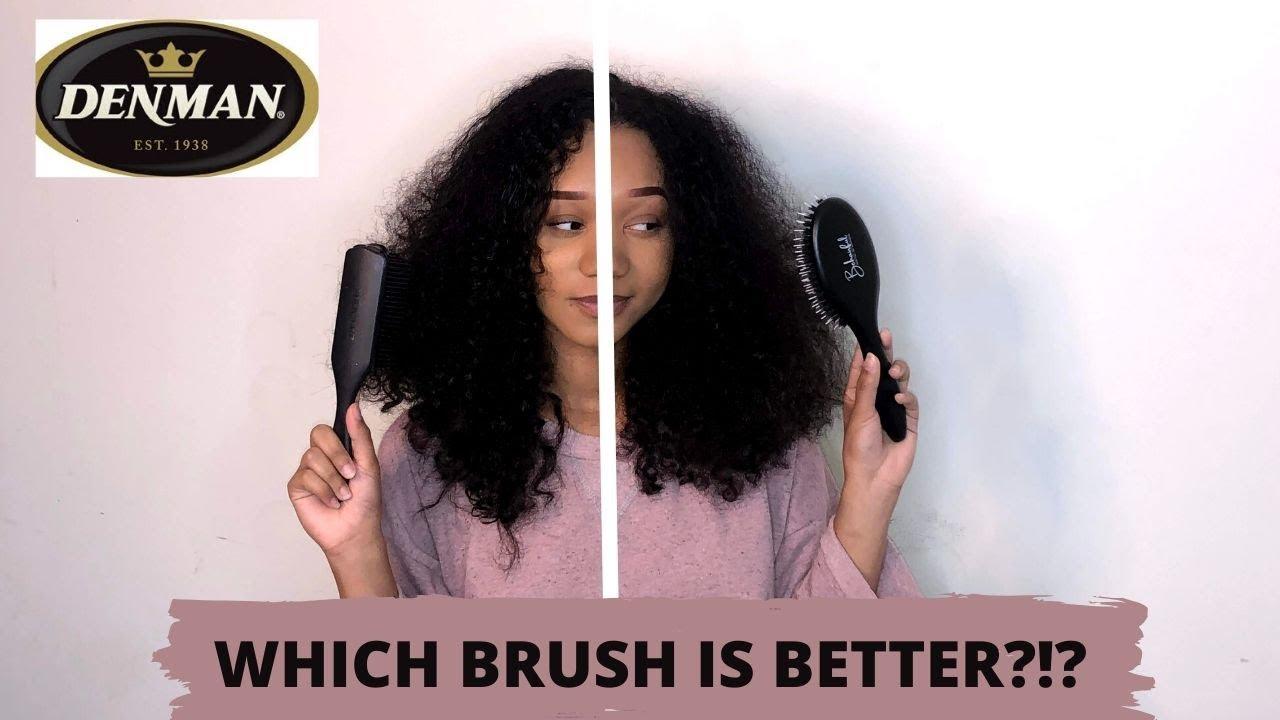 The Best Brush To Detangle Curly Hair Denman Brush Vs Behairful Brush Youtube