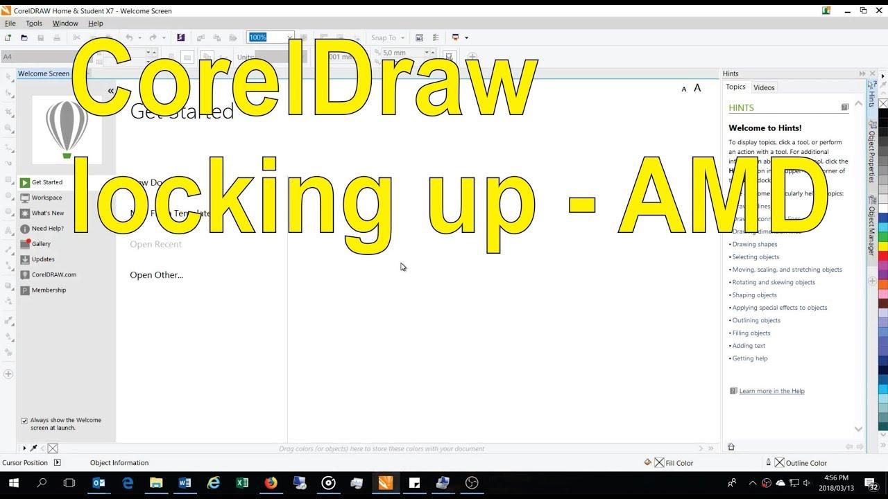 CorelDraw X freezing / locking up PC - work around / fix