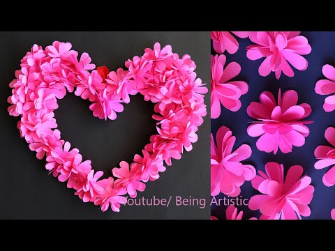 Paper Flower Heart Wall Decoration - Paper Craft - DIY Home Deocration - DIY Wall Decor