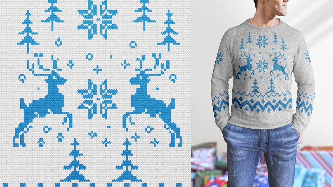 a40ed5216 Knitted Christmas Sweater - Photoshop Actions And Free Mock-Up - YouTube
