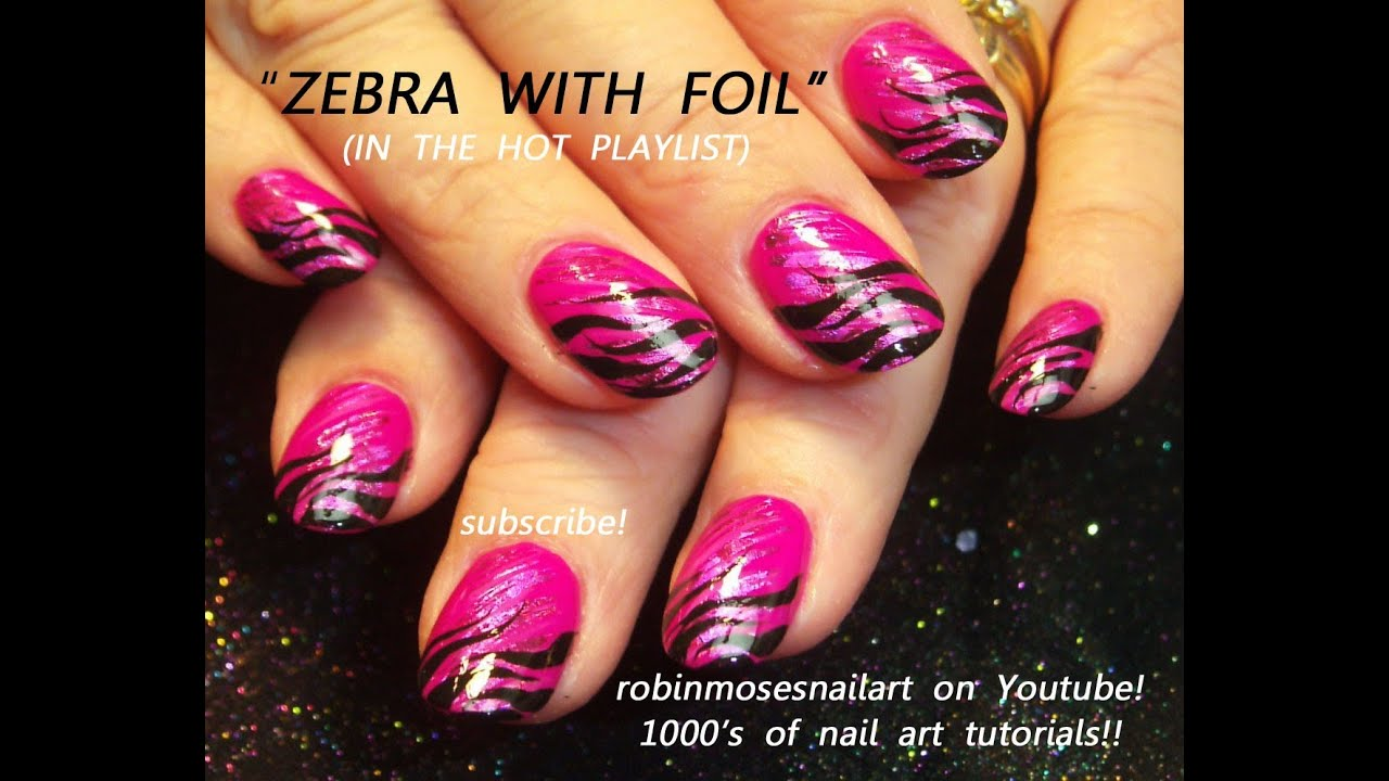 Hot Pink Foil Nails With Black Zebra Tips Nail Art Design Tutorial