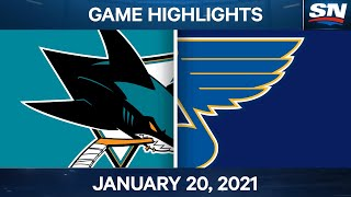 NHL Game Highlights | Sharks vs. Blues - Jan. 20, 2021