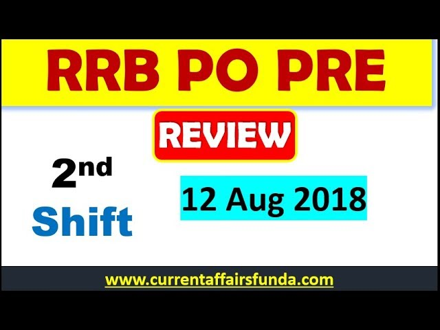 RRB PO 12 Aug 2nd Shift Review || See Full Analysis