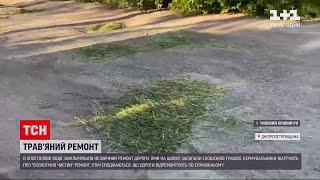 Новини України: у Дніпропетровській області поремонтували дорогу скошеною травою