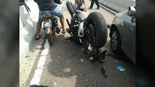 Accident at custom from Singapore  Bike lane towards JB .