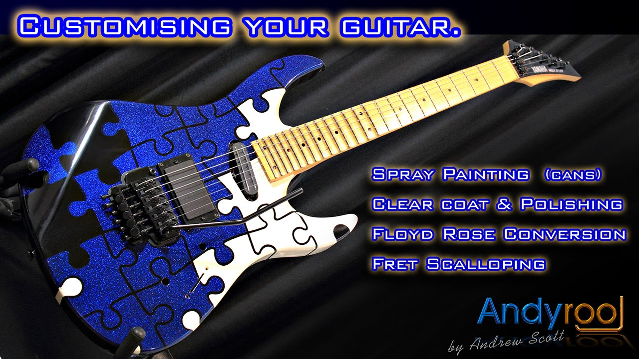 andyrooj diy custom guitar paint scallop neck floyd rose youtube. Black Bedroom Furniture Sets. Home Design Ideas