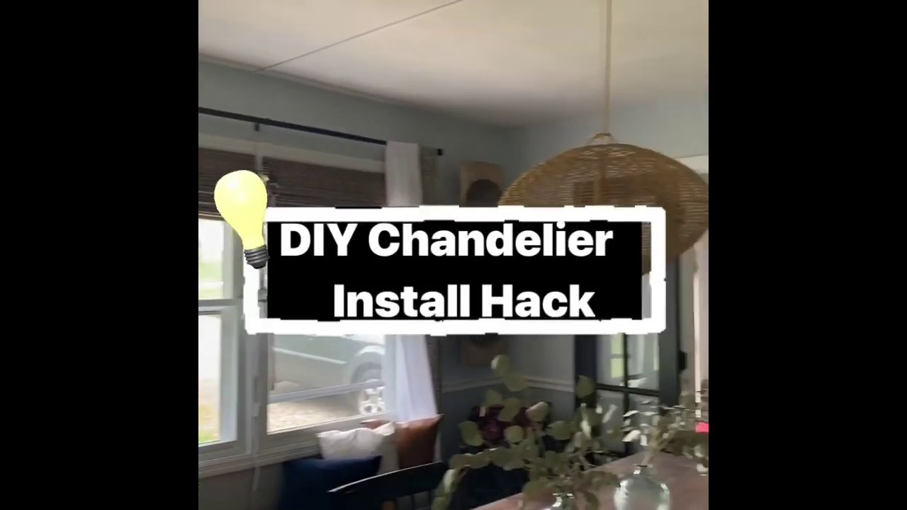 DIY Ceiling Chandelier Install Hack (No wires) - YouTube