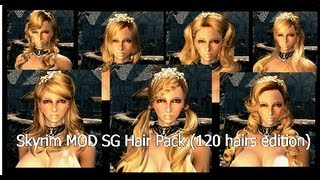 Repeat youtube video Skyrim MOD SG Hair Pack (120 hairs edition)