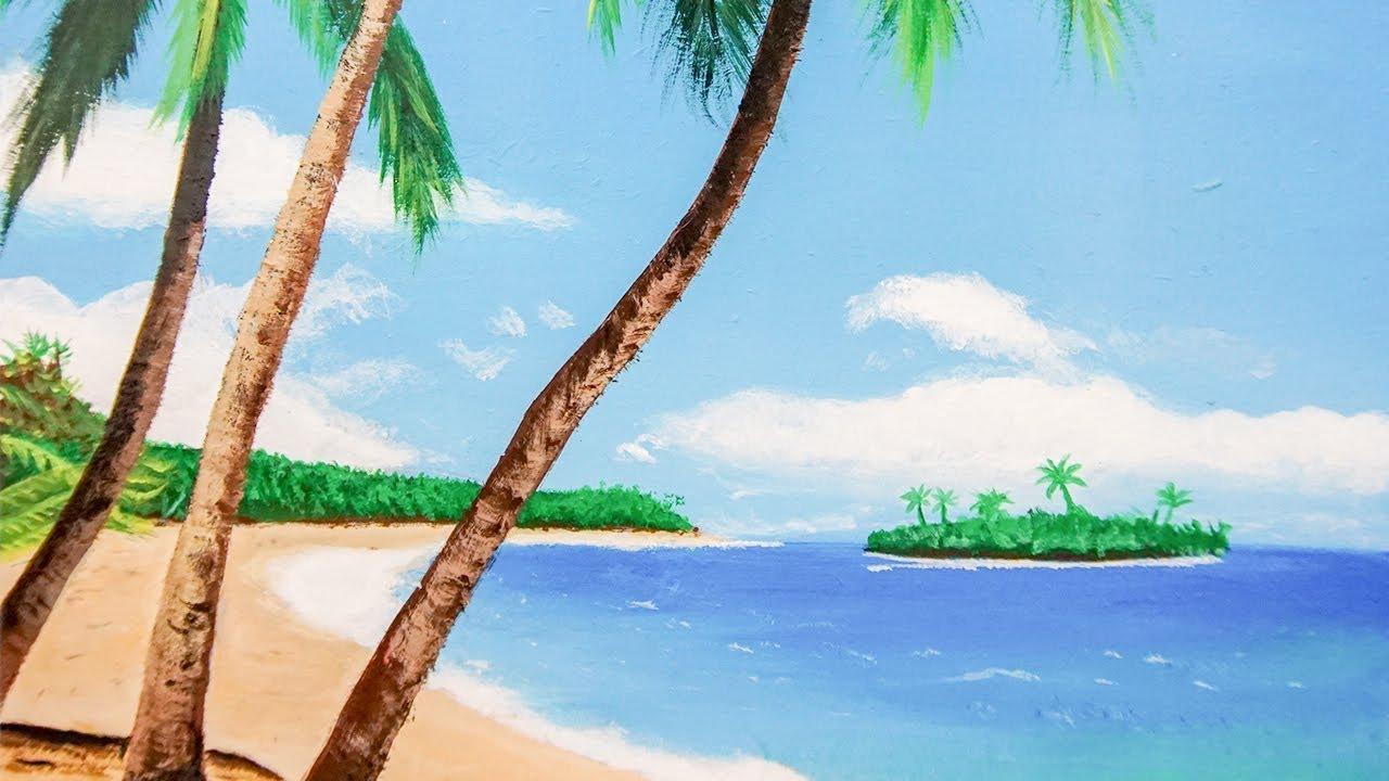Deniz Ve Palmiyeler Akrilik Boya Manzara Resmi Serkan Koc