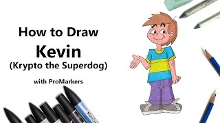 How to Draw and Color Kevin from Krypto the Superdog with ProMarkers [Speed Drawing]