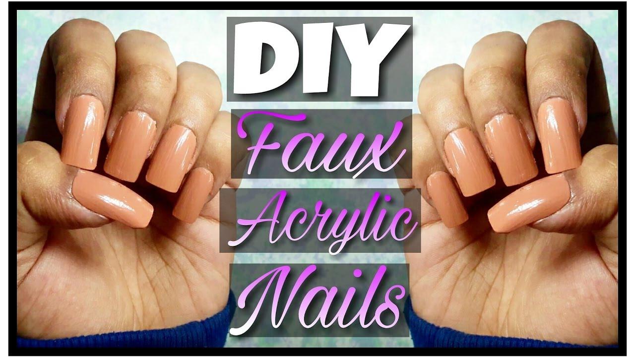 DIY FAUX ACRYLIC NAILS AT HOME FOR CHEAP+ Nail Glue Alternative ...