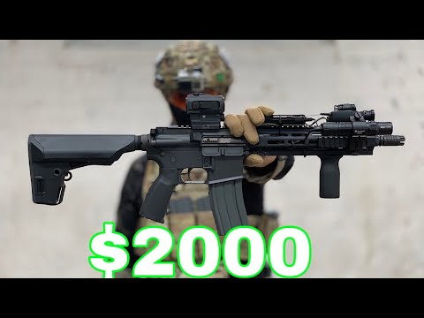 Ex British SOLDIER Tries $2000 AIRSOFT Rifle (INSANE POWER)
