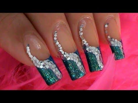 Take 2 Blue Green Silver Nail Art Design Tutorial Youtube