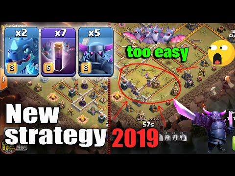 New Strategy 2019! Max 5 Pekka 7 Bat Spell 2 Electro Dragon Destroy TH12 War Bases |  Clash Of Clans