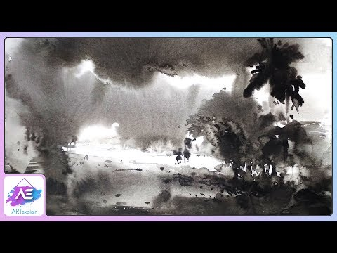 Black and white Watercolor Painting Landscape Tutorial | Art Explain