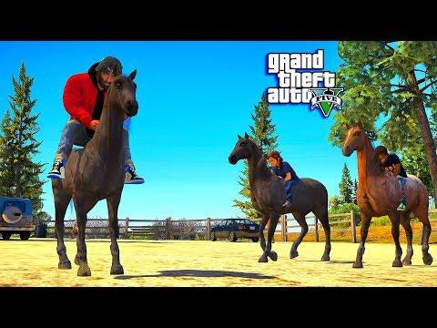 GTA 5 REAL LIFE MOD #12 TAKING MY KIDS HORSEBACK RIDING! (GTA 5 REAL LIFE MOD)