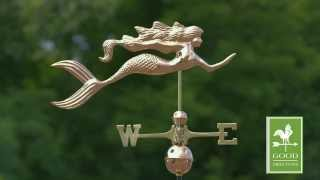 Gd649p Mermaid Weathervane Polished Copper
