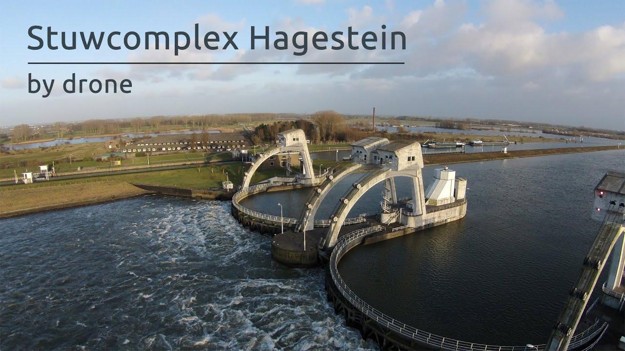 Stuwcomplex Hagestein by drone - YouTube