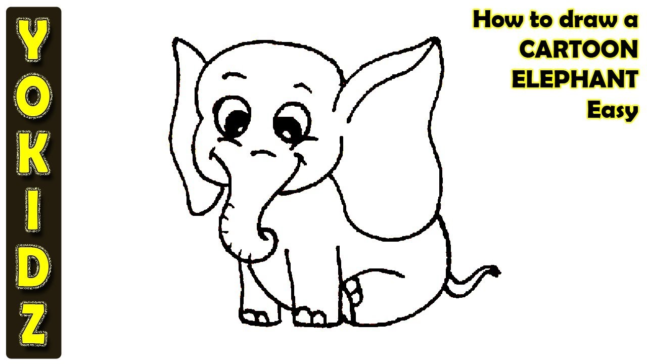 How to draw a CARTOON ELEPHANT Easy - YouTube