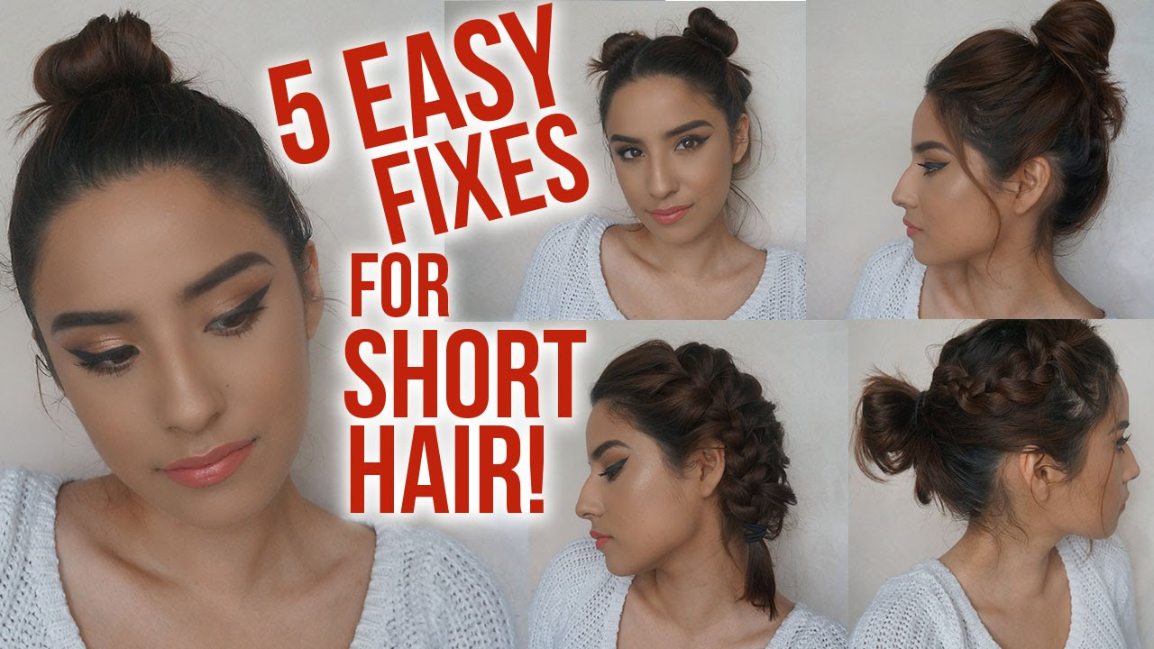 5 Easy Hairstyles For Short Hair NO HEAT Lazy Day Running