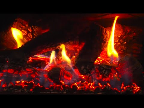 10 Hours Fireplace HD Video with Crackling Flames Glowing
