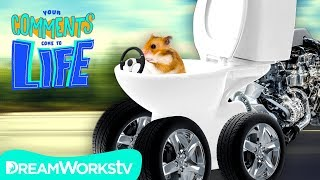 Hamster in a Toilet Car DESTROYS DABBING | YOUR COMMENTS COME TO LIFE