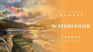 DIY How to PAINT Sea Landscape Sunset. Video lesson painting/ art Jarova free Watercolor lessons