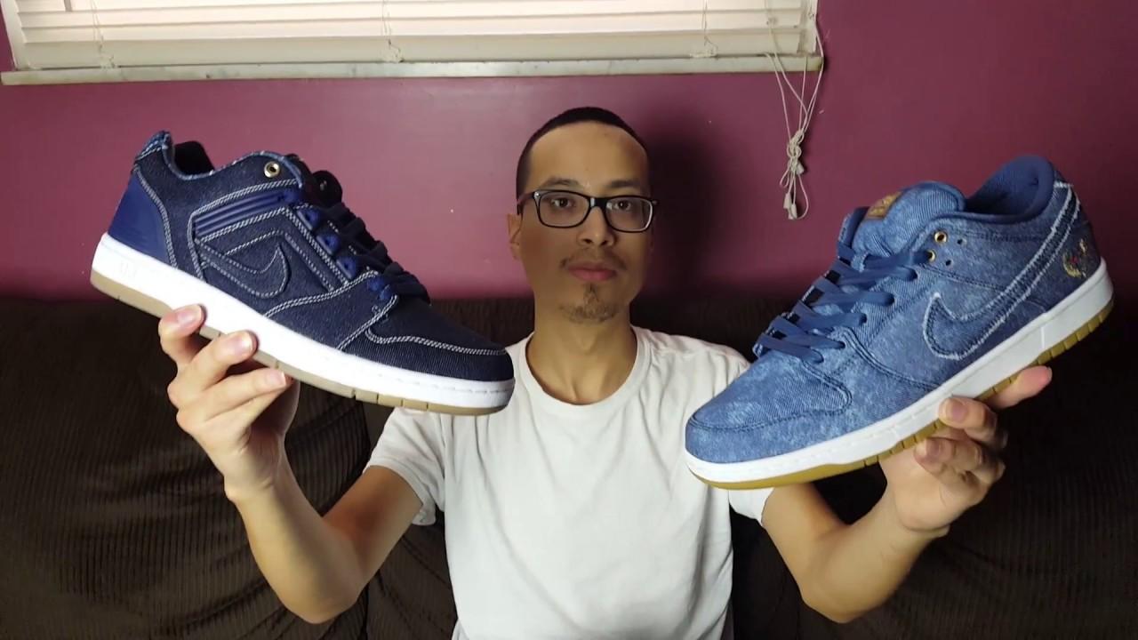 East Coast Vs West Coast Nike SB's?! Nike SB Air Force 2 Low & Nike SB Dunk Low Denim Pack Review!