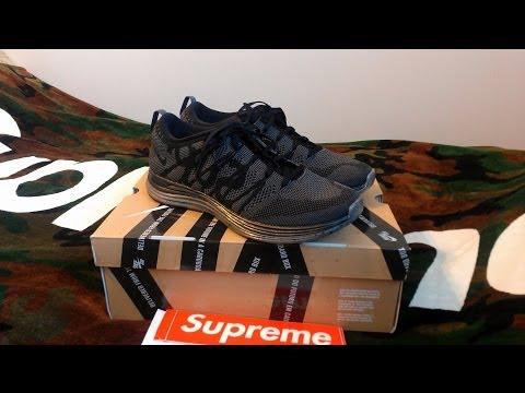 Supreme x Nike Flyknit Lunar 1+ Review Fall Winter 2013 Black/Dark Grey Sneakers