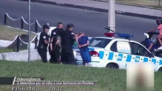 Robaron una farmacia, los siguieron por las cámaras y fueron detenidos en minutos