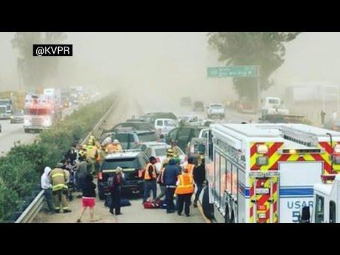 Massive 20-car pileup near Fresno, CA