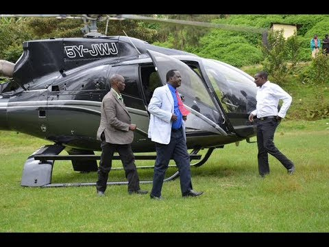 Raila Lands with 3 Helicopters.Raila Shows Political and Financial Muscle.NASA is For SUPER RICH.