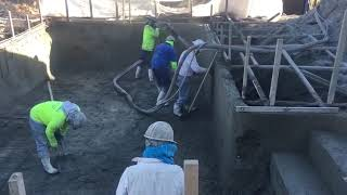 Concrete application and finishing of pool walls