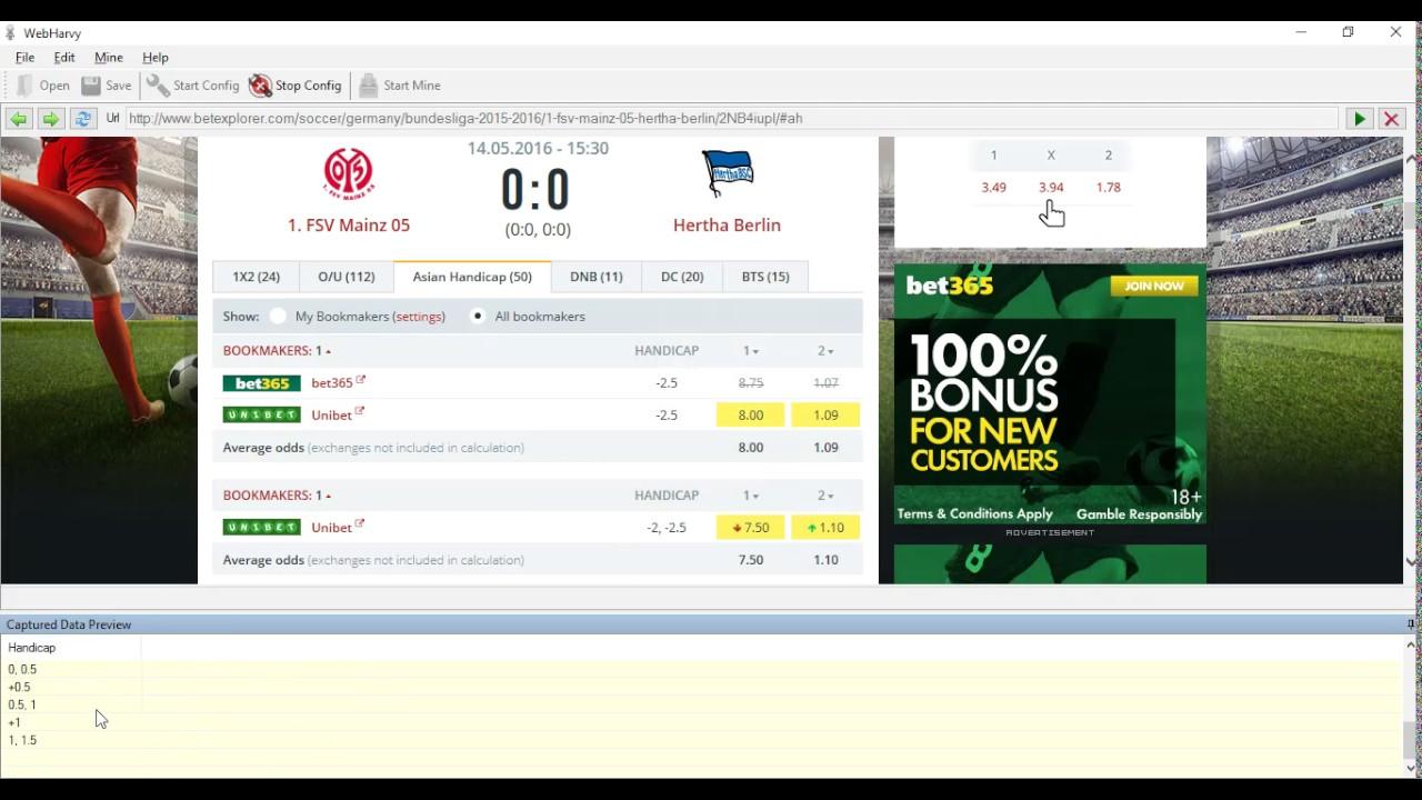 Scraping BetExplorer com for Handicap Prices of Bet365 specific data |  Webharvy