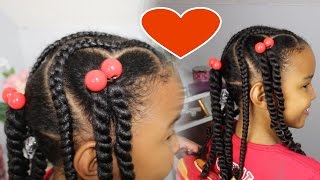 Hearts, Ponytails & Braids | Valentine's Day Hairstyle for Kids
