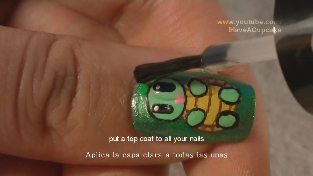 Cute Little Turtle Nail Art Tutorial / Arte para las unas de ...