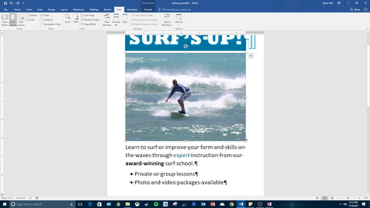 how to add photo to word document
