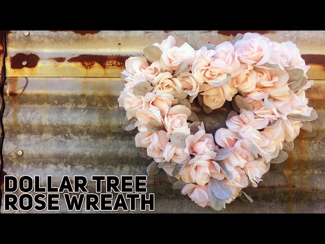 DIY Dollar Tree Rose Covered Heart Wreath for Valentine's Day - Bridal -- Wedding