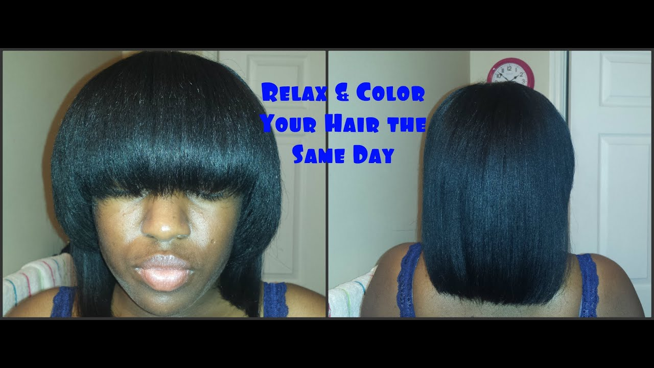 How to Relax & Color Your Hair the Same Day - YouTube
