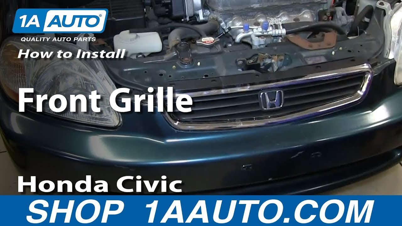 How To Install Remove Front Grille 1996 98 Honda Civic Youtube Oem Ex Sedan Door Wiring Diagram