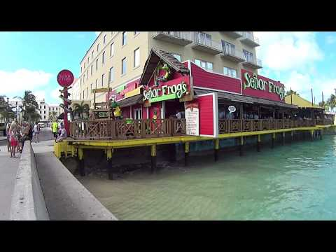 Walking from port in Nassau Bahamas to Junkanoo beach